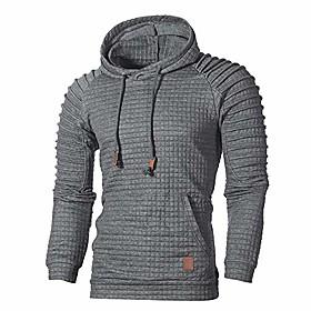 autumn long sleeve plaid hoodie hooded sweatshirt top tee outwear blousemen dark gray