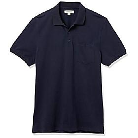 amazon brand - menamp; #39;s soft cotton stretch pique polo, navy, medium