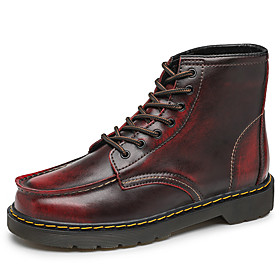Men's Boots Casual Daily Outdoor Walking Shoes Leather Wear Proof Booties / Ankle Boots Wine / Black / Brown Fall / Winter