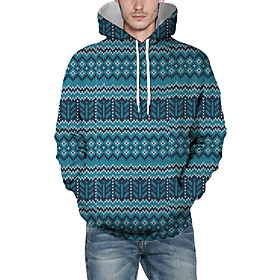 Men's Christmas Pullover Hoodie Sweatshirt Lines / Waves 3D Graphic Christmas Hoodies Sweatshirts  Navy Blue