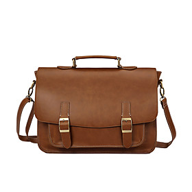 Men's Bags PU Leather Briefcase Zipper for Office  Career Earth Yellow / Black / Coffee