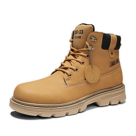 Men's Boots Casual Daily Outdoor Walking Shoes Faux Leather Wear Proof Booties / Ankle Boots Yellow / Khaki / Beige Fall / Winter