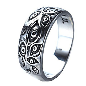 men's vintage stainless steel engraved eye of god ring silver tone size 13