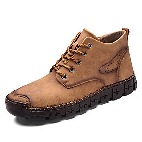 Men's Boots Casual Daily Outdoor Walking Shoes Faux Leather Wear Proof Booties / Ankle Boots Light Brown / Black / Dark Green Fall / Winter