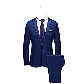 butamp; #39;s 2pcs blazer buckle suits business coat pants slim button host show wedding formal meet jacket tops trousers amp; #40;m, navyamp; #41;