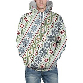 Men's Christmas Pullover Hoodie Sweatshirt Lines / Waves 3D Graphic Christmas Hoodies Sweatshirts  Light Green