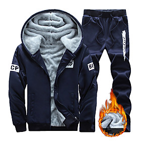 Men's 2-Piece Full Zip Tracksuit Sweatsuit Street Athleisure Long Sleeve 2pcs Winter Thermal Warm Breathable Soft Fitness Gym Workout Running Jogging Training