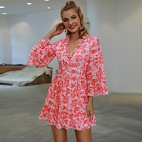 Women's A-Line Dress Short Mini Dress - Long Sleeve Floral Ruffle Ruched Print Fall Casual Flare Cuff Sleeve 2020 Blushing Pink S M L
