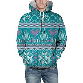 Men's Christmas Pullover Hoodie Sweatshirt 3D Graphic Heart Christmas Hoodies Sweatshirts  Light Green