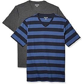 men's 2-pack slim-fit short-sleeve v-neck t-shirt, blue and navy rugby stripe/charcoal heather, large
