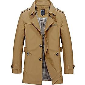 chartou men's classic single breasted notched collar long sleeve midi trench jacket coat (medium, dark khaki)