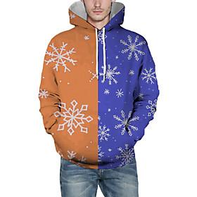 Men's Christmas Pullover Hoodie Sweatshirt Print 3D Graphic Christmas Hoodies Sweatshirts  Orange