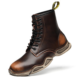 Men's Boots Casual Daily Outdoor Walking Shoes Leather Wear Proof Booties / Ankle Boots Black / Brown Fall / Winter