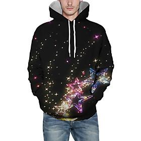 Men's Christmas Pullover Hoodie Sweatshirt Galaxy 3D Graphic Christmas Hoodies Sweatshirts  Black