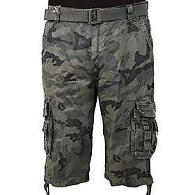 100% cotton menamp; #39;s cargo shorts 9 pockets basic army short pants camo grey 32
