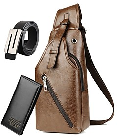 Men's Bags PU Leather / Polyester Sling Shoulder Bag Zipper for Daily / Outdoor Black / Brown