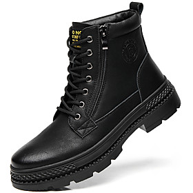 Men's Boots British Daily Faux Leather Black Fall / Winter