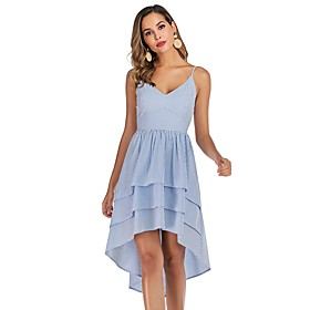 Women's Strap Dress Short Mini Dress - Sleeveless Striped Backless Summer Sexy Party Slim 2020 Light Blue S M L XL XXL