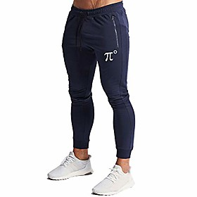 men's joggers sweatpants gym training workout pants slim fit with zipper pockets(navy-m)