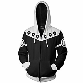 men naruto kakashi long sleeve full-zip bomber jacket hooded varsity jacket (m/us s, six paths)