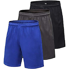 men's 3-pack 7 running shorts quick dry workout shorts(black/gray/blue,m - label m (waist: 28-29))
