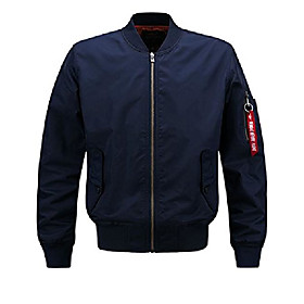 men's casual stand collar short zipper flight pilot aviator bomber jacket (medium, blue002)