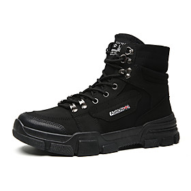 Men's Boots Casual Daily Outdoor Canvas Breathable Wear Proof White / Black / Beige Fall