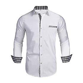 men's button up shirt slim fit dress shirt plaid contrast shirt long sleeve casual button down shirts (white, large)