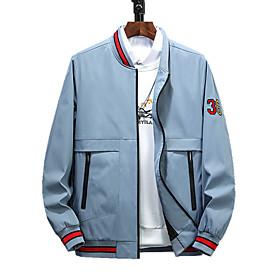 Men's Jacket Regular Color Block Daily Active Black Khaki Light Blue L XL XXL