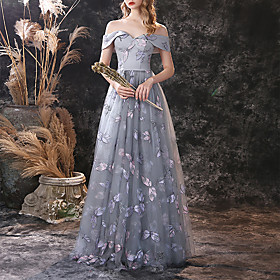 A-Line Floral Vintage Prom Formal Evening Dress Off Shoulder Short Sleeve Floor Length Lace with Embroidery 2020