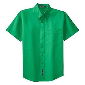 men's big short-sleeve easy care dress shirt - court green s508 l