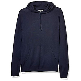 amazon brand - men's lightweight merino/wool acrylic pullover hoodie sweater, navy small