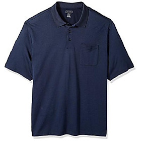 men's big and tall jacquard stripe short sleeve polo, majestic blue, 2x-large tall