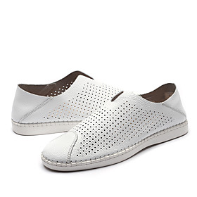 Men's Loafers  Slip-Ons Casual Daily Walking Shoes Nappa Leather Breathable Non-slipping Wear Proof White / Black / Blue Summer