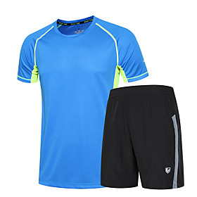 Men's 2-Piece Zipper Pocket Activewear Set Athletic Athleisure Short Sleeve 2pcs Summer Breathable Quick Dry Soft Fitness Gym Workout Running Jogging Training