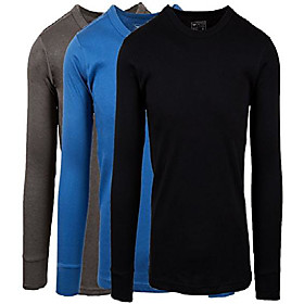 men's 3 pack 100% cotton fleece lined base layer long sleeve thermal crew neck shirt (3 pack-denim/charcoal/black, xx-large)