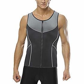 men's hot sweat body shaper tummy fat burner tank top slimming vest weight loss shapewear neoprene gray xl