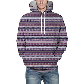 Men's Christmas Pullover Hoodie Sweatshirt Striped 3D Graphic Christmas Hoodies Sweatshirts  Purple