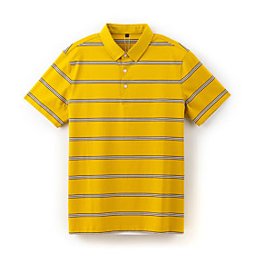 Men's 1 Piece Golf Polo Shirts Stripes UV Sun Protection Breathable Quick Dry Autumn / Fall Spring Summer Sports Outdoor / Short Sleeve / Stretchy