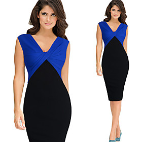 Women's A-Line Dress Knee Length Dress - Sleeveless Solid Color Zipper Winter V Neck Sexy Party Club 2020 Blue Red S M L XL XXL