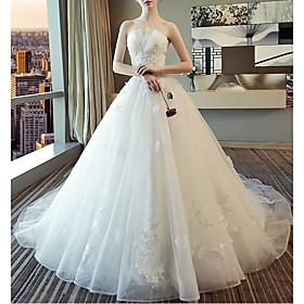 Ball Gown Wedding Dresses Strapless Cathedral Train Lace Tulle Sleeveless Formal Elegant with Beading Appliques 2020