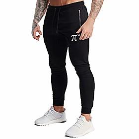 men's jogger pants slim fit workout sweatpants athletic running pants with zipper pocket, black, x-large