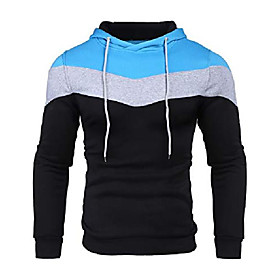 autumn fashion hoodies color block hooded pullover sport sweatshirt clothes for junior(light blue,medium)