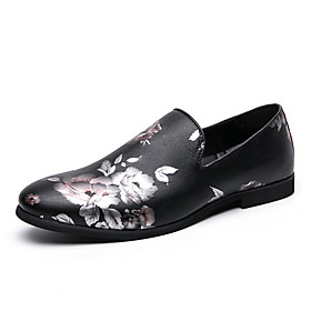 Men's Loafers  Slip-Ons Business / Casual / Chinoiserie Daily Party  Evening Walking Shoes Faux Leather Wear Proof Black Spring / Fall