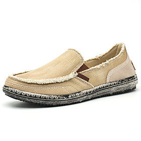 Men's Loafers  Slip-Ons Casual Daily Canvas Breathable Non-slipping Wear Proof Black / Blue / Khaki Spring / Fall
