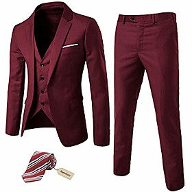butamp; #39;s slim fit 3 pieces suit, one button blazer set, jacket vest amp; pants burgundy
