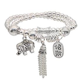 Men's Women's Bead Bracelet Friendship Bracelet Wrap Bracelet Beads Elephant Fashion Vintage Theme Stylish Unique Design Dangling Vintage Ethnic Alloy Bracelet
