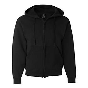 best collectionamp;#8482 men's fleece full zip hood large black/charcoal heather