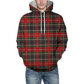 Men's Christmas Pullover Hoodie Sweatshirt Plaid Checkered 3D Graphic Christmas Hoodies Sweatshirts  Red