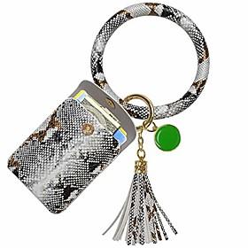keychain bracelet, leather wristlet keychain bracelet for women (gray white)